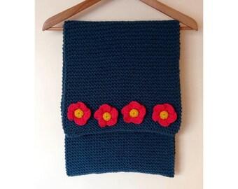 Floral trim scarf