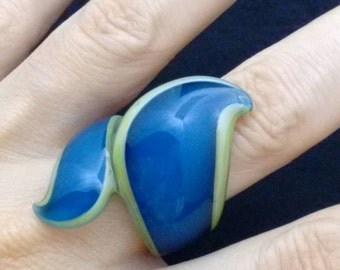 ring glass collection profile Cross Blue and green