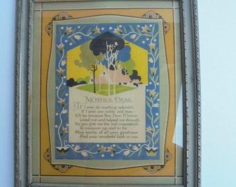 Vintage framed Mothers Poem