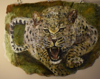 Original Animal Painting on the Hairy Side of Cow Leather