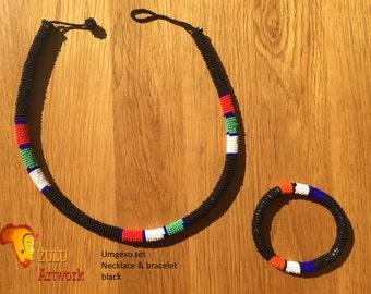 Umgexo black- ZULU beaded necklace & bracelet