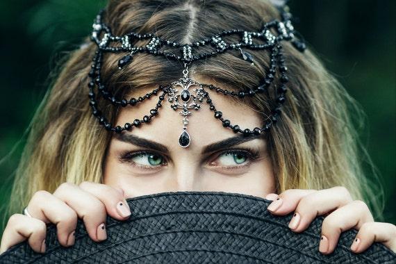 Festival Hair Chain  Prom Gothic Tikka Black with Dark Blue Crystal Drop Boho Head Piece Jewelry