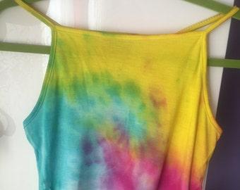 Tie dye tumblr cropped tank top