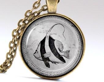 Fish necklace, Aquarium pendant, Nautical Jewelry, Ocean Charm   MTL006