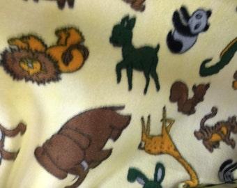 Jungle Life Baby Animals Fleece Fabric by the yard