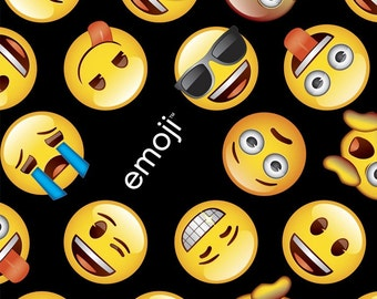 Emoji blanket etsy for Emoji fabric