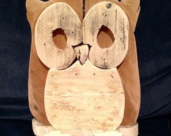 Rustic wood owl