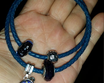 Pandora style Leather Bracelet Double Wrap
