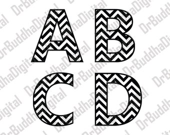 Sale! Chevron Monogram Font SVG Collection - Chevron Monogram Alphabet DXF - Chevron Letter - Files for Silhouette Cameo or Cricut