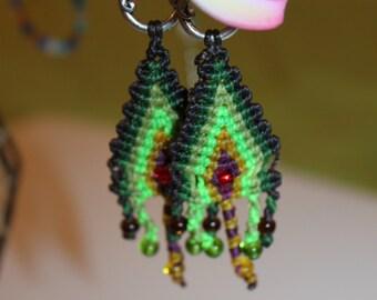 Macrame earrings, boho, hippie, green and brown, neon, rocailles, dangle earrings, long