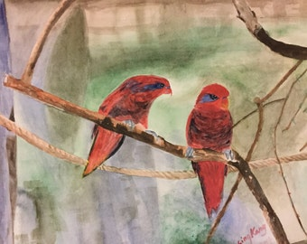 original watercolour painting of bird, two birds, red,brown,green, 10x14inches, A friendship's eye