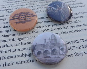 Book Inspired Button Badges - Infernal Devices