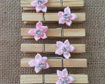 PINK FLORAL CLOTHESPINS (Set of 6)