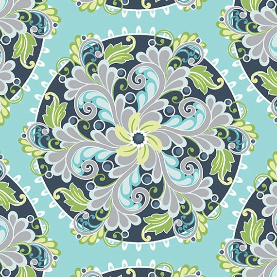 Fabric Flourish Medallion Turquoise Cotton Fabric