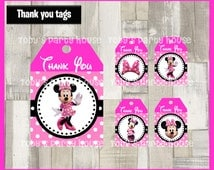 80% OFF SALE Minnie mouse Thank you Tags instant download, Printable Pink Minnie Thank you tags , Minnie mouse Party Gift Favor Label Tag