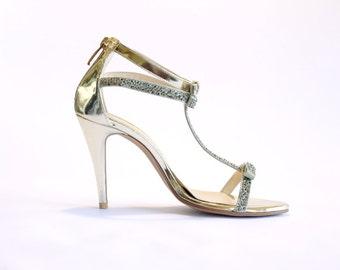 GRACE.gold jewel T-bar sandal. 9cm. bridal shoes. wedding shoes. party shoes.