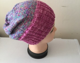 Soft Slouchy Beanie Hat, hand knitted