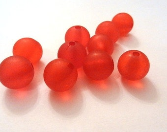 "10 acrylic beads ""frosted"" - 12 mm - red / D1-0416"
