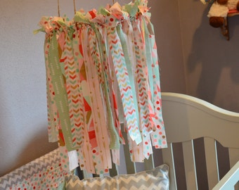 Fabric crib mobile. Mint,Coral,Light Pink