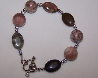 Magnetite and Marble Heart Toggle Bracelet