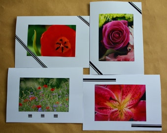 Handmade flower photo note cards. Set of 4. Blank inside.