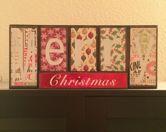 Reversible wooden holiday sign