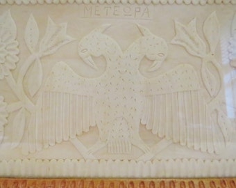 Rare Antique Hand Carved Wooden Double Headed Eagle Tray