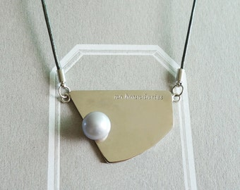 Sterling Silver, Geometical Silver Pendant with Freshwater Pearl 17' Necklace