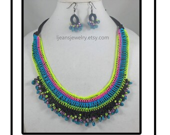 Crochet Fabric and Beaded Necklace and Earring Jewelry Set