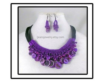 Crochet Purple Beaded Necklace and Earring Jewelry Set 2