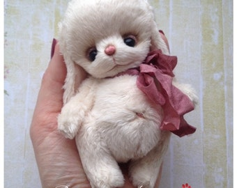 Teddy cream Bunny kid, soft plush  handmade toy Artist teddy made to order for you