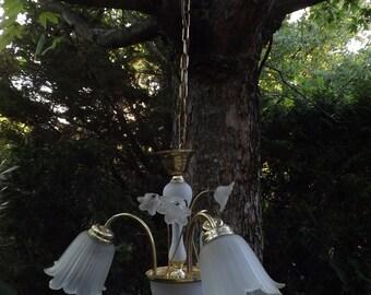 chandelier 60s years glass opaque tulips