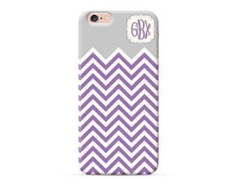 iPhone 6s Case purple chevron monogram cover, custom monogrammed case for iPhone 7 iPhone 6s plus iPhone 6 iPhone SE 5S 5C personalised case