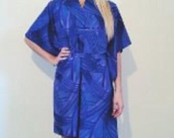 1970s blue and purple kinono wrap summer dress