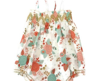 Shirred Bubble Romper, Baby Girl Bubble Floral Romper, Smocked Bubble Romper, Bohemian Baby Clothes, Boho Romper, Baby Girl Outfits