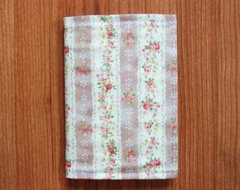 Print Flowers Cotton Fabric Passport Cover/Holder