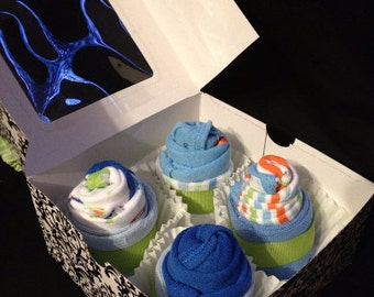 Baby Boy Onesie and Sock Cupcakes - Baby Shower Gift - Baby Boy Gift