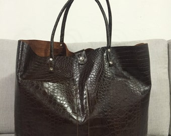 Crocodile-embossed leather maxi bag