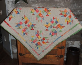 Handmade Quilt, Sofa/lap/throw Quilt, Quilted Wall Hanging, Fall Quilt