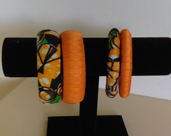 2 piece african print and grossgrain satin covered bangles
