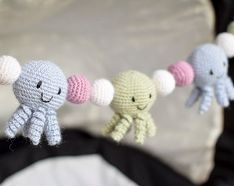 Crochet Octopus Stroller Toy, Baby Mobile