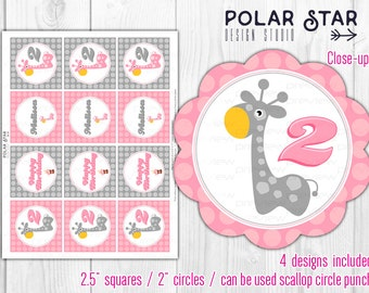 Little Giraffe - Custom Pink/Gray Favor Tags, Cupcake Toppers - Personalized Printable Digital File