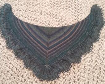 Shades of green lace shawl