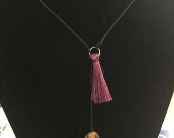 """28"""" Tassel Loop Necklace (Black)"""