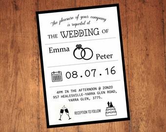 Wedding invitation - black and white