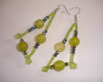 Green earrings, agate, crystals, wire, centerset, oaak, original, unique, gift, birthday, Christmas, mother