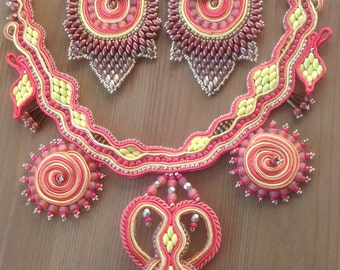 Soutache and bead necklace - one of a kind, handmade
