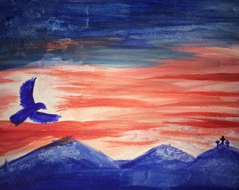 Patriotic watercolor scene