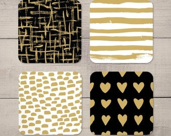 Black and Gold Pattern Coasters Set of 4