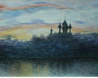 Landscape watercolor painting, Original watercolor landscape, Original painting, Blue twilight